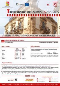 Il treno dei sapori da Siracusa per Scicli e Modica con la mitiche Centoporte e Corbellini. Il 5 ottobre 2019